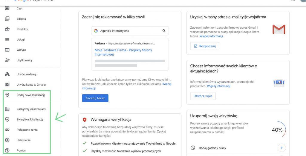 Google Moja Firma - dolna część nawigacji