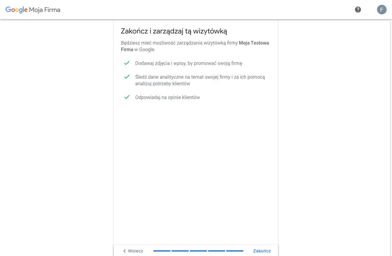 Tworzymy profil w Google Moja Firma - zakończ i zarządzaj