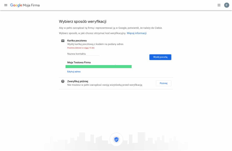 Tworzymy profil w Google Moja Firma - metoda weryfikacji