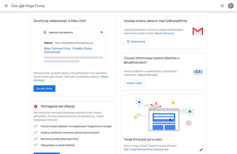 Tworzymy profil w Google Moja Firma - profil GMF