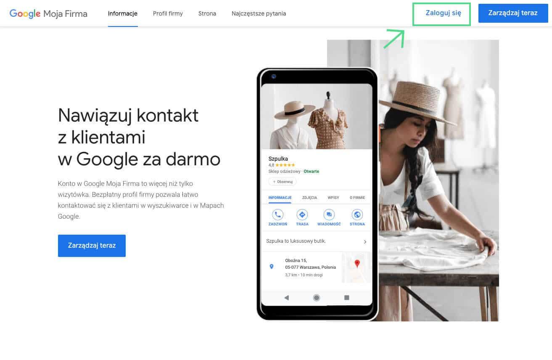 Tworzymy profil w Google Moja Firma - zaloguj się