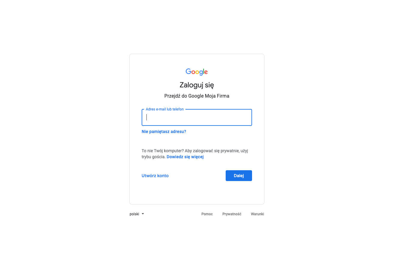 Tworzymy profil w Google Moja Firma - podaj dane