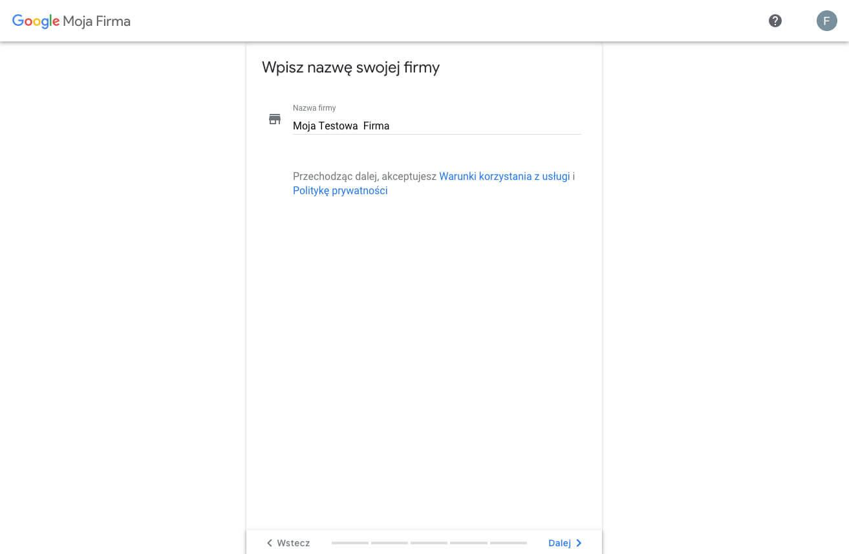 Tworzymy profil w Google Moja Firma - podaj nazwę firmy