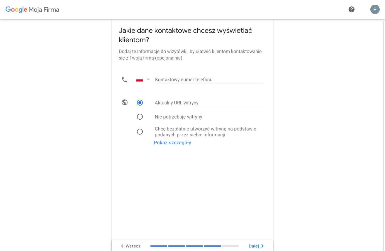 Tworzymy profil w Google Moja Firma - dane kontaktowe
