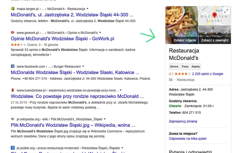 Przykład wizytówki Google Moja Firma